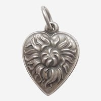 Chrysanthemum Flower Sterling Silver Repousse Puffy Heart Charm - Engraved 'Lana'