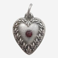 Engraved 'Harry' - Tiny Fleurs-de-Lis Border with Stone Sterling Silver Puffy Heart Charm