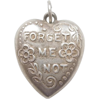 Repousse 'Forget-Me-Not' Sterling Silver Puffy Heart Charm - Engraved 'Irene'