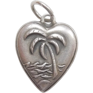 Palm Tree and Ocean Waves Sterling Silver Puffy Heart Charm – Engraved 'Betty'