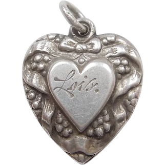 Double-sided Ribbon and Berries Heart-in-Heart Puffy Heart Charm - Engraved 'Lois'
