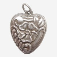 Sterling Silver Repousse Floral Puffy Heart Charm - Engraved 'Earle'