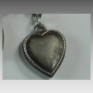 Sterling Silver Puffy Heart Charm ~ Beaded Edge ~ 'Johnnie'