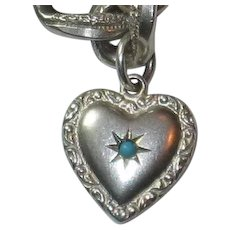 Engraved 'Frank' - Exquisite Mini Sterling Double-sided Repousse Puffy Heart Charm with Stone