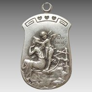 German Art Nouveau 'Wer bin ich?' 'Who Am I?' Charm or Pendant