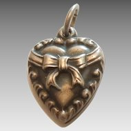 Sterling Silver Puffy Heart Charm - Repousse Bow - Engraved 'Mama'