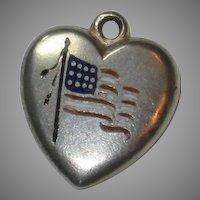 Engraved 'B' - Enamel American Flag Sterling Silver Puffy Heart Charm