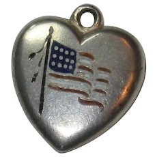 Engraved 'B' - Enamel American Flag Sterling Silver Puffy Heart Charm