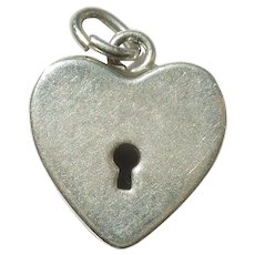 Walter Lampl Sterling Silver Puffy Heart Faux Padlock Charm