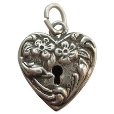 Walter Lampl Sterling Silver Puffy Heart Faux Padlock Charm - Floral Forget Me Not