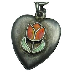 Engraved 'EJM' - Red Enamel Tulip Sterling Silver Puffy Heart Charm