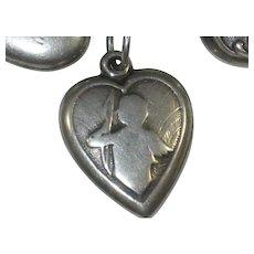 Cupid Cherub Sterling Silver Puffy Heart Charm - Engraved 'TD'