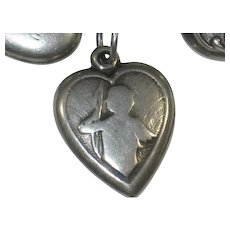Cupid Cherub Sterling Silver Puffy Heart Charm - Engraved 'TD'