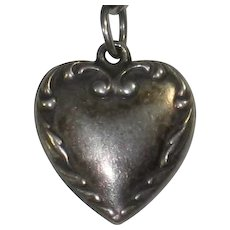 Engraved 'Pop' - Sterling Silver Repousse Border Puffy Heart Charm