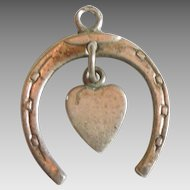 Vintage 'Lucky in Love' Horseshoe and Dangle Heart Charm