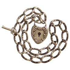 Victorian Sterling Silver Repousse Puffy Heart Padlock Charm, 8'' Bracelet and Key - W&S Blackinton and H.F. Barrows