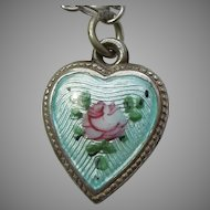 Sterling Silver Puffy Heart Charm – Blue Guilloche Enamel with Pink Rose- Engraved 'E.M.'