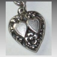 Sterling Silver Repousse Puffy Heart Charm With Double Hearts Engraved 'AM'