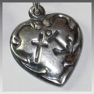 Sterling Silver Puffy Heart Charm Faith Hope and Charity
