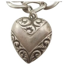 Victory Banner with Paisley Repousse Border - Sterling Silver Puffy Heart Charm