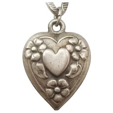 Sterling Silver Puffy Heart Charm - Heart in Heart with Forget-Me-Not Flowers'