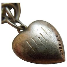 Engraved 'Dub' - Sterling Silver Puffy Heart Charm - Elegant Repousse with Beaded Edge