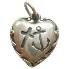 Engraved 'Helen' - Faith Hope and Charity Sterling Silver Puffy Heart Charm - Anchor, Cross