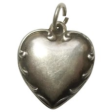 Engraved 'Will' - Sterling Silver Repousse Border Puffy Heart Charm