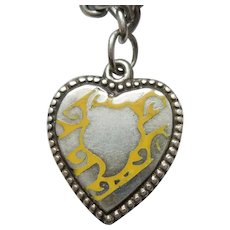 Sterling Silver Puffy Heart Charm - Unusual Yellow Enamel Design