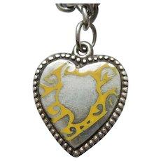 Sterling Silver Puffy Heart Charm - Unusual Yellow Enamel Design
