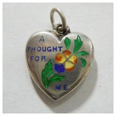 'A Thought For Me' Pansy - Engraved 'P.M.' - Sterling Silver Enamel Puffy Heart Charm