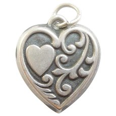 Sterling Silver Puffy Heart Charm - Heart and Vine Scrolls Design