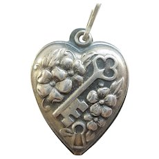 'Key to My Heart' Sterling Silver Puffy Heart Charm
