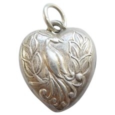 Exotic Bird - Peacock - Sterling Silver Puffy Heart Charm