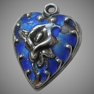 Sterling Silver Puffy Heart Charm - Repousse Calla Lily with Blue Enamel - Engraved 'Jon'