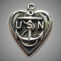 Sterling Silver Puffy Heart Charm - U.S. Navy Anchor - Engraved 'Fran'