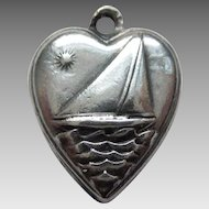 Sterling Silver Puffy Heart Charm - Sailboat - Engraved 'Mack'