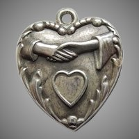 Sterling Silver Puffy Wedding Heart Charm - Hands Clasped