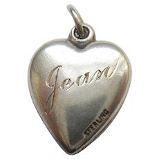 Engraved 'Jean' - Sterling Silver Repousse Puffy Heart Charm - Double Hearts  and Flower