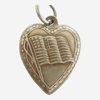 American Flag with Star Border Sterling Silver Puffy Heart Charm - Patriotic