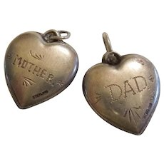 'Mother' and 'Dad' - Beautiful Pair of Sterling Silver Repousse Puffy Heart Charms