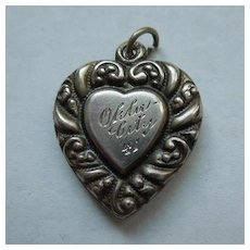 Larger Sterling Silver Repousse Puffy Heart Charm - Double-sided Heart-in-Heart - Engraved 'Okla City '41'