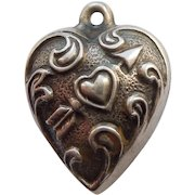 Engraved 'Susanne' - Extra Chubby Sterling Silver Puffy Heart Charm - Repousse Heart Pierced with Arrow