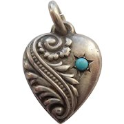 Smaller Sterling Silver Puffy Heart Charm with Turquoise Paste Stone - Double-sided Repousse