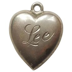 Engraved 'Lee' - Sterling Silver Puffy Heart Charm - Elegant Repousse with Beaded Edge