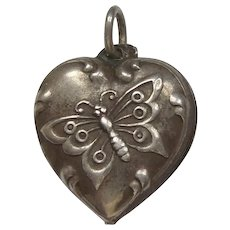 Engraved 'Mickey' - Repousse Butterfly Sterling Silver Puffy Heart Charm
