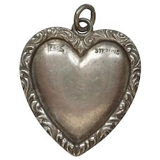 LARGE Sterling Silver Repousse Puffy Heart Charm - Foster & Bailey