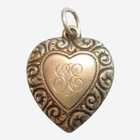 Larger Sterling Silver Puffy Heart Charm - Double-sided Heart-in-Heart with Repousse Paisley Border - Engraved