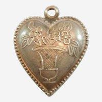 Engraved 'Marga' - Urn or Basket Vase of Flowers Puffy Heart Charm Sterling Silver