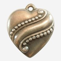 Engraved 'LG' - Elegant Repousse Beaded Banner Sterling Silver Puffy Heart Charm